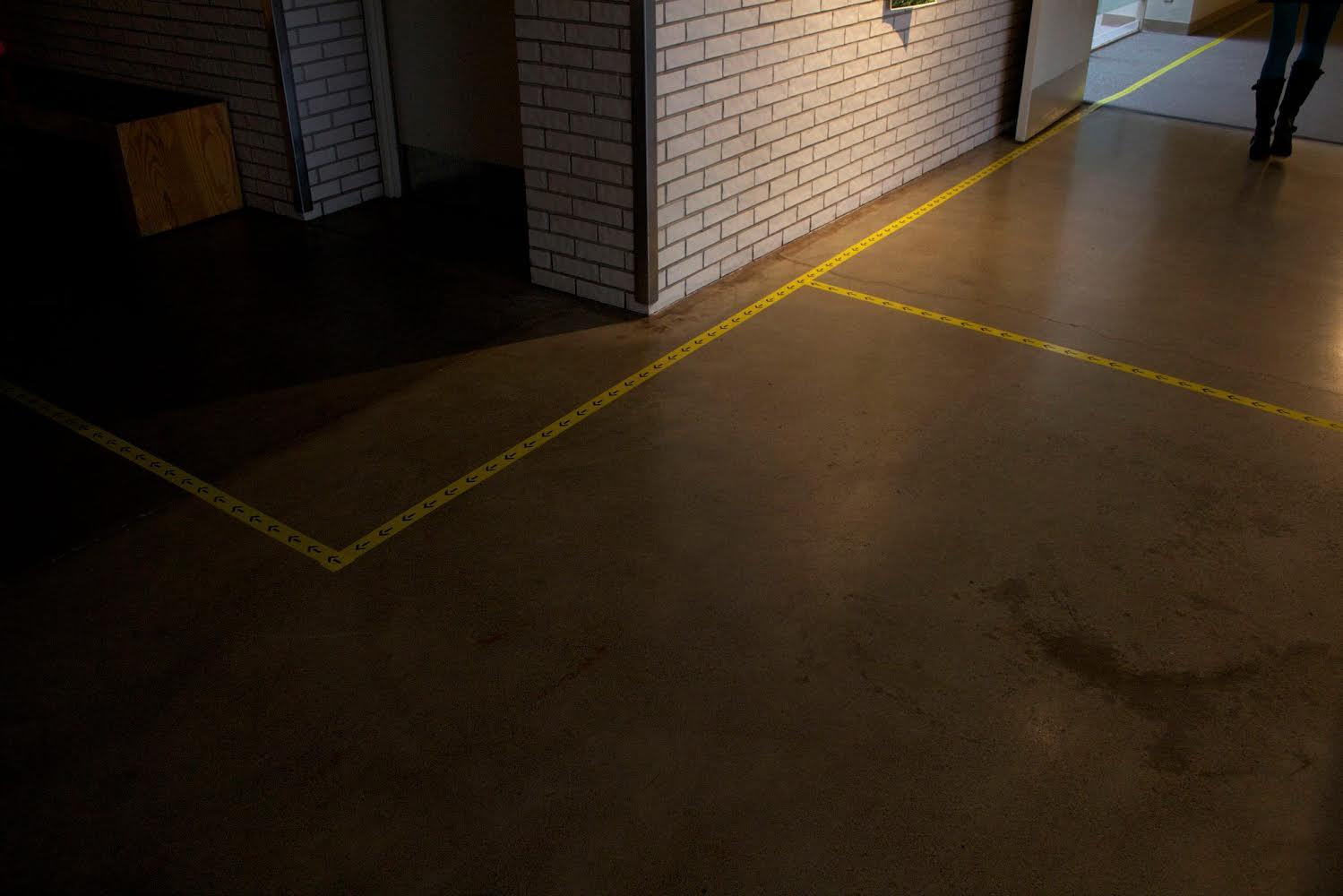 Directional tape installed in Main Building