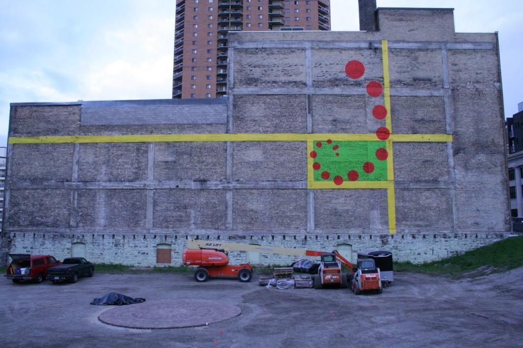 The mural in progress