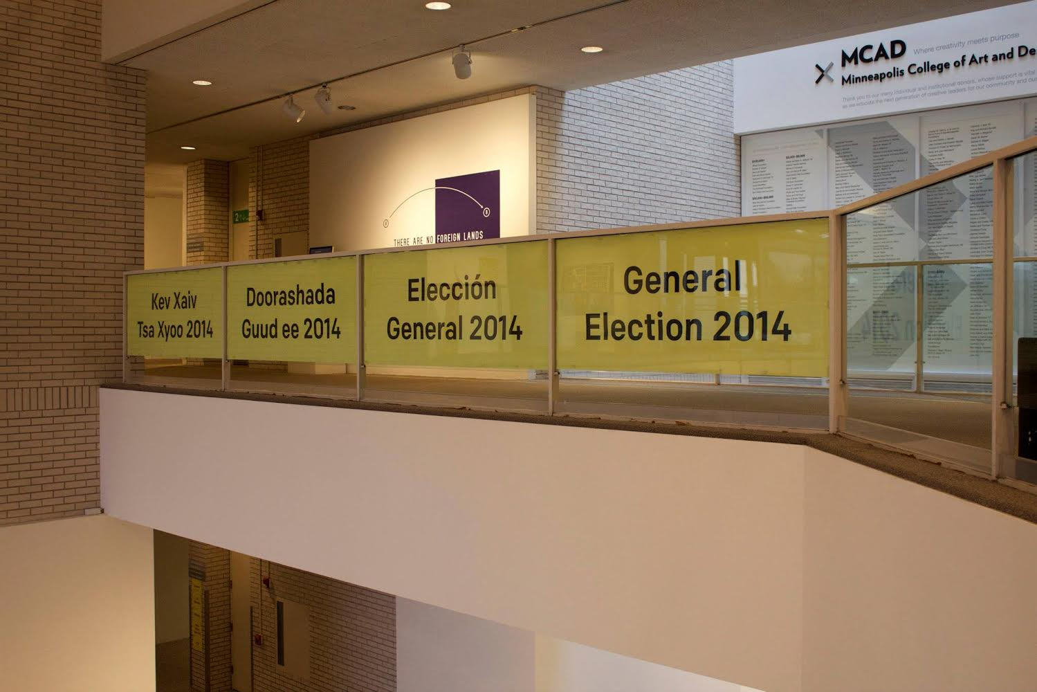 Elections signage in MCAD Main Gallery