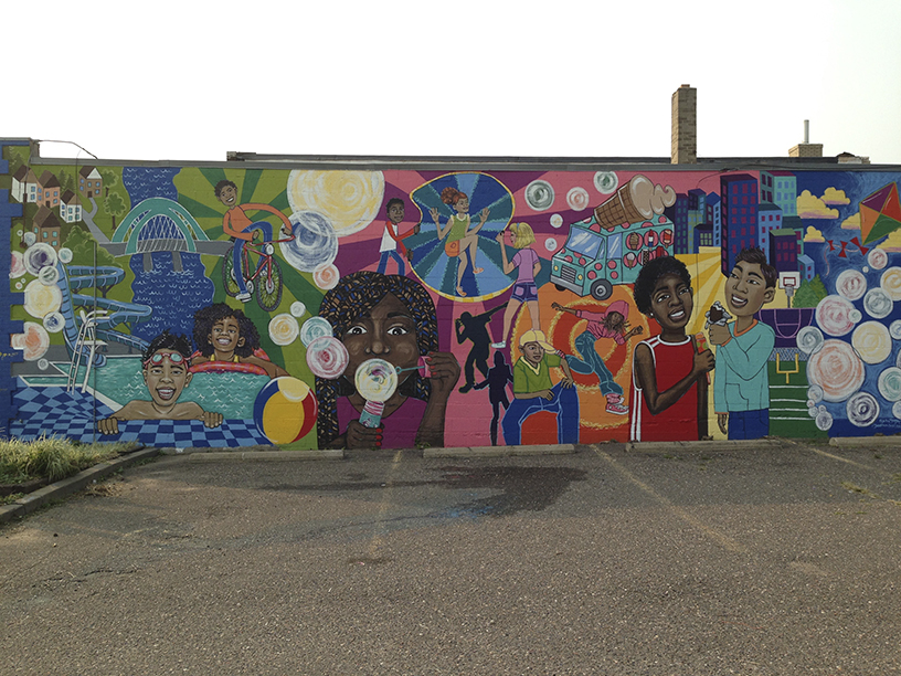 The completed FLOW mural.